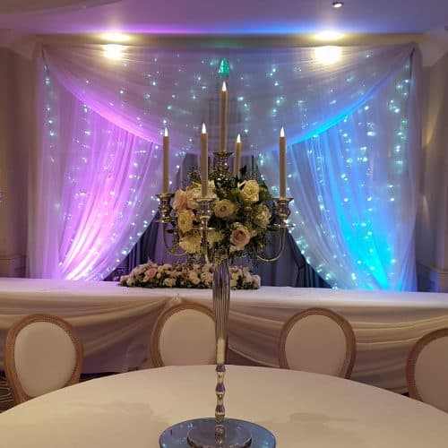 Beautiful White Starlit Backdrop used behind The Top Table
