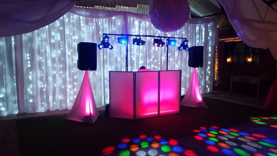Hot Pink Colour-wash and 7.5m Star Lit Wedding Backdrop