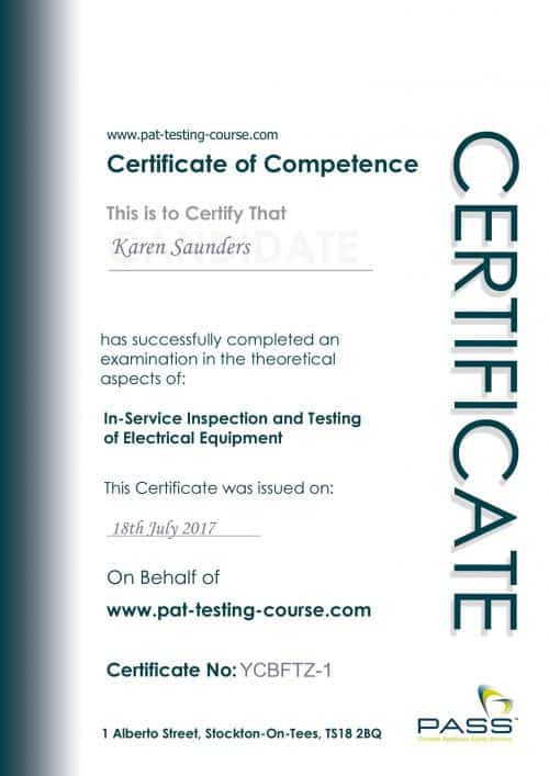 My Certificate of Competence in PAT Testing. Issued by PASS.