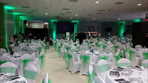 Green Up-lighting on Hire for Corporate Award Ceremony